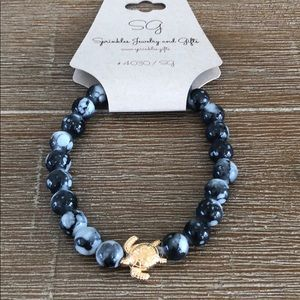 Sea turtle black grey beaded BRACELET New gift